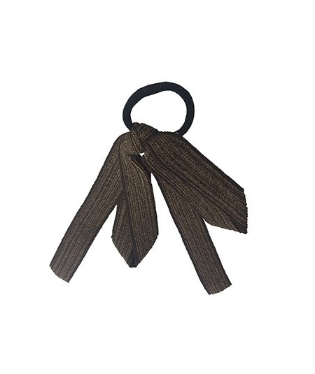 Brown Straw and Grosgrain Long Bow Ponytail Tie