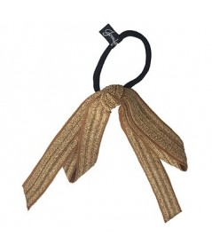 Wheat Straw and Grosgrain Long Bow Ponytail Tie