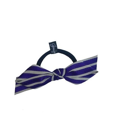 Grey Grosgrain with Purple Satin Stripe Bow Ponytail Holder