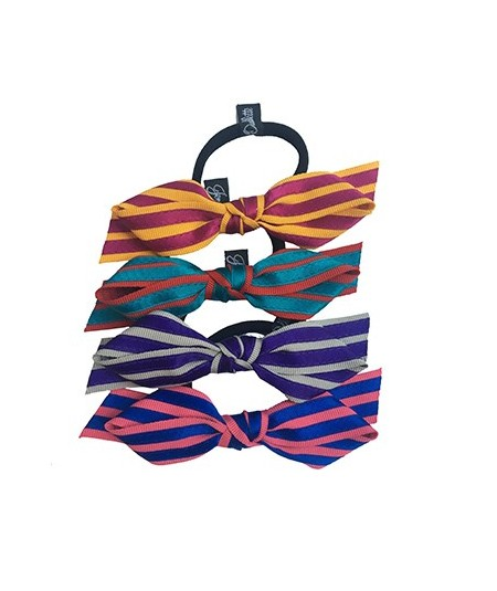 Grosgrain with Satin Stripe Bow Ponytail Holder