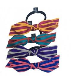 Grosgrain with Satin Stripe Bow Ponytail Holder