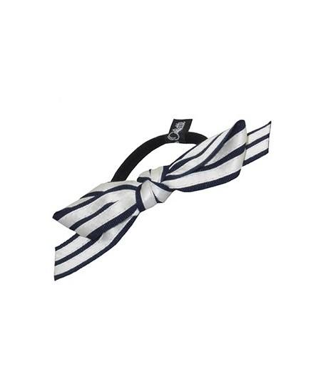 Black Grosgrain with Ivory Satin Stripe Bow Ponytail Holder