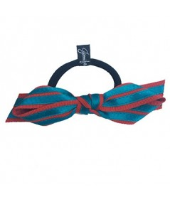Red Grosgrain with Turquoise Satin Stripe Bow Ponytail Holder