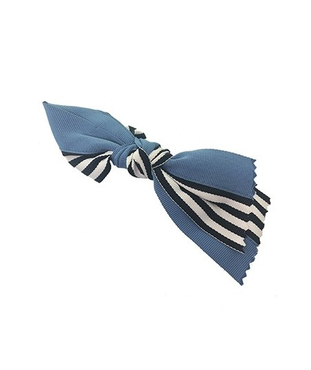 Country Blue Grosgrain Stripe Barrette