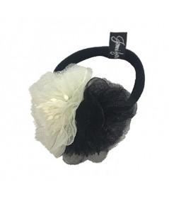 Ivory and Black Flower Ponytail Holder by Jennifer Ouellette