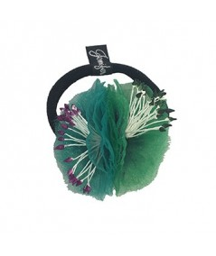 Green and Teal Flower Ponytail Holder by Jennifer Ouellette