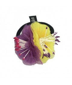 Purple and Yellow Flower Ponytail Holder by Jennifer Ouellette