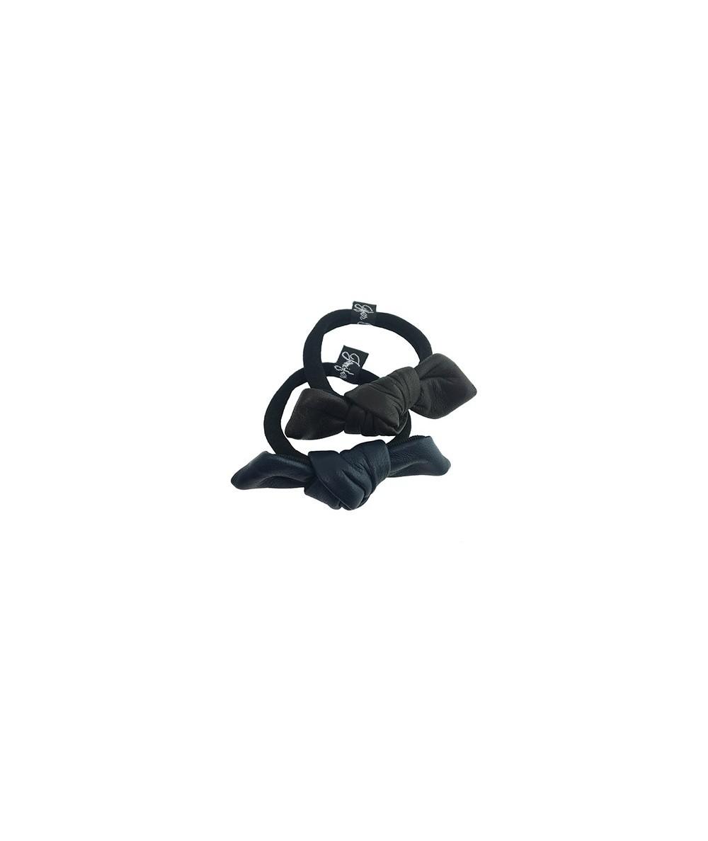 Black - Light Navy Leather Small Knot Ponytail Holder
