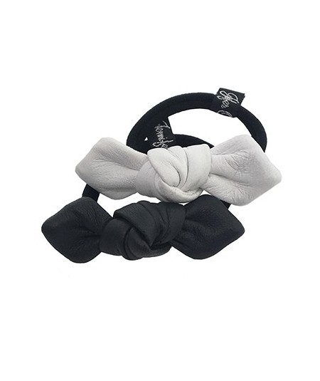 White - Black Leather Small Knot Ponytail Holder