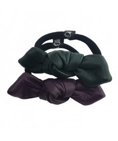 Violet - Forest Leather Small Knot Ponytail Holder