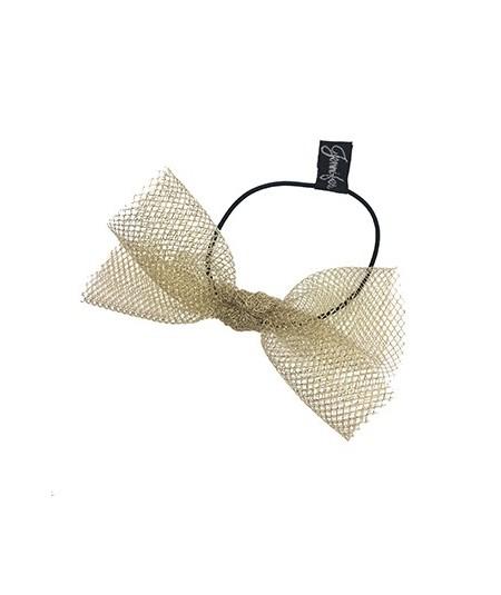 Light Gold Tulle Bow Hair Ponytail Elastic