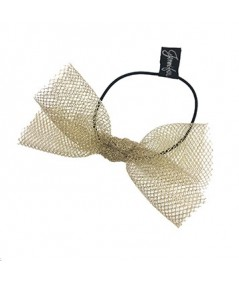 Light Gold Tulle Bow Hair Ponytail Elastic