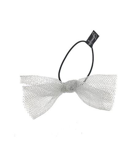 Light Silver Tulle Bow Hair Ponytail Elastic