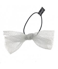 Light Silver Tulle Bow Hair Ponytail Elastic