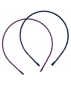Basic super skinny satin headband Mauve & Dark Navy