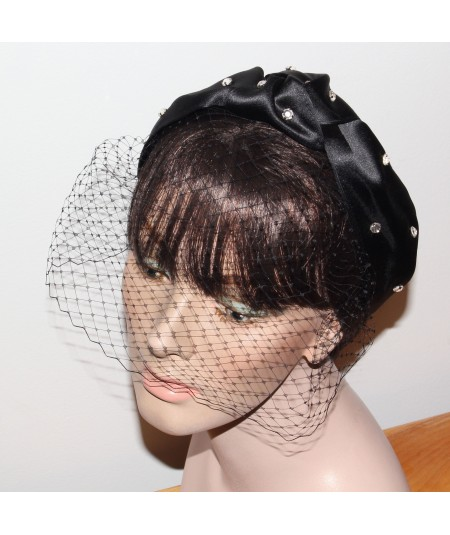 Black Satin Turban with Birdcage Face Veil Fascinator