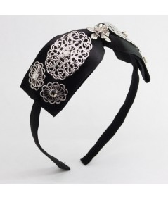 Black Center Satin Bow with Metal Flower Trim Headband