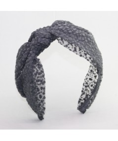 Grey Dotted Tulle Side Bow Headband