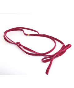 Beauty Pink Skinny Velvet Headband with Long Ties