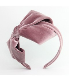 Blush Velvet Headband with Loop Bow at Side