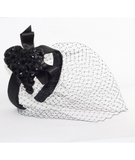 Black Gem Heart Fascinator