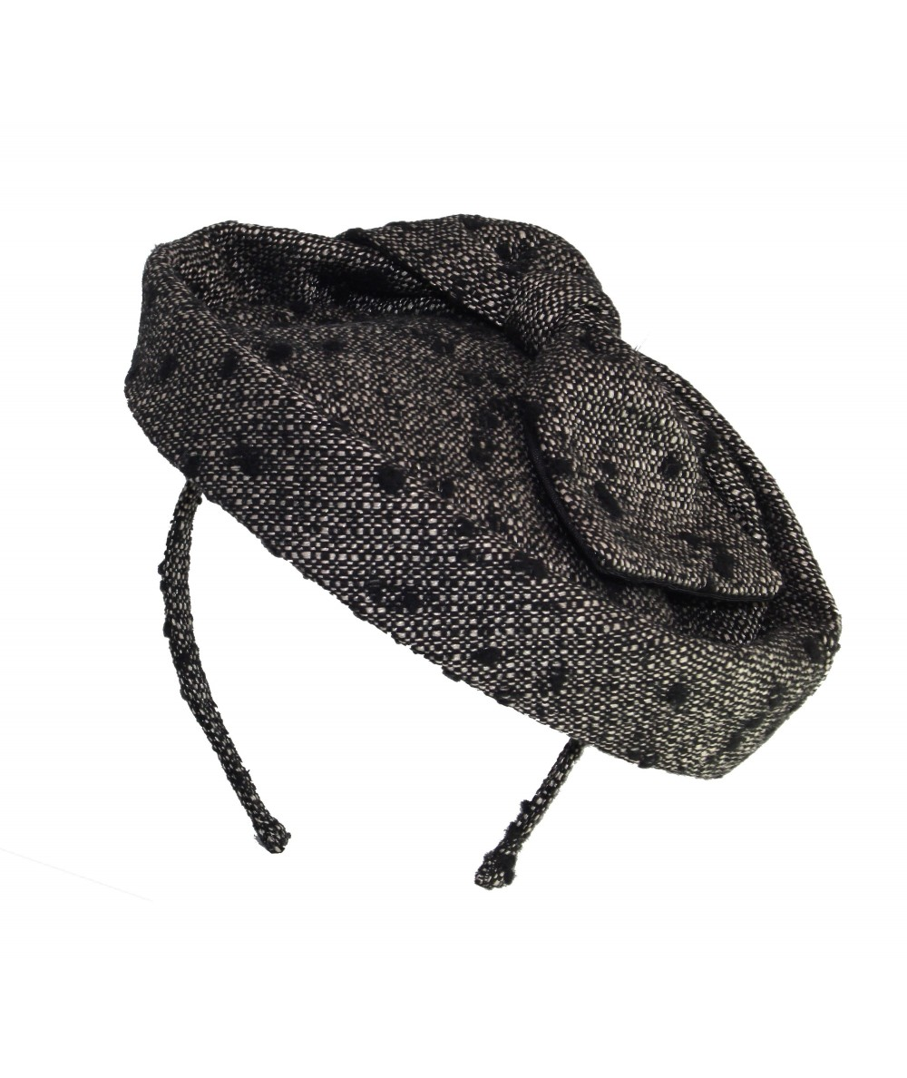 Winter Dots Boucle Headpiece with Back Bow