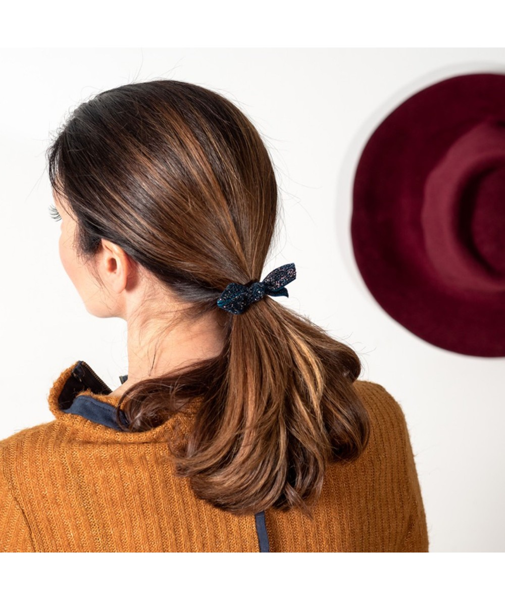 Navy Sparkle Velvet Loop Tie on Skinny Ponytail Holder