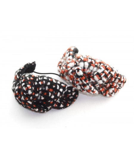 Burnt and Pumpkin Pie Boucle Tweed Knot Pony and Bracelet