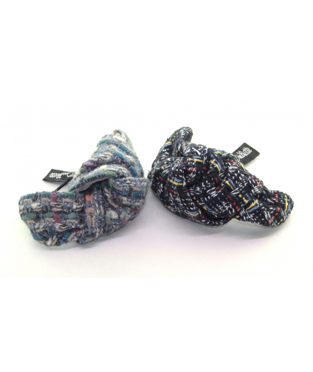 Pastel and Navy Multi Boucle Tweed Knot Pony and Bracelet
