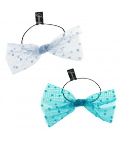 Light Blue Dots and Turquoise Dots Tulle Bow Hair Ponytail Elastic
