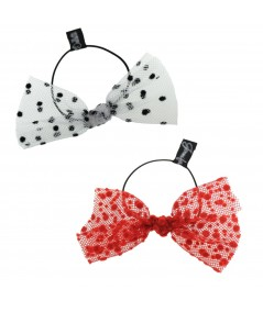 White with Black Dots and Red Dots Tulle Bow Hair Ponytail Elastic