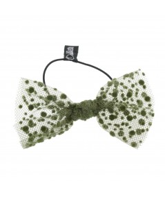 Olive Dots Tulle Bow Hair Ponytail Elastic