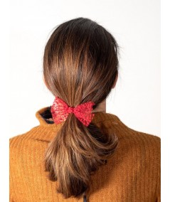 Red Dots Tulle Bow Hair Ponytail Elastic
