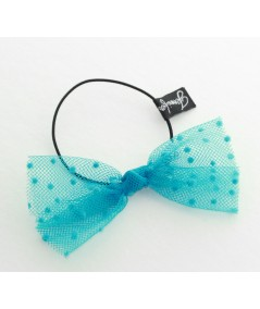 Turquoise Dots Tulle Bow Hair Ponytail Elastic