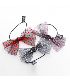 Black Tulle with Red Dots, Black Tulle with Pink Dots and Black Tulle with White Dots Bow Hair Ponytail Elastic