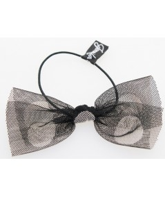 Black Tulle with White Big Polka Dots Elastic Ponytail