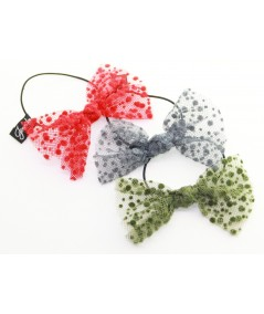 Red Dots, Grey Dots and Olive Dots Bow Hair Ponytail Elastic