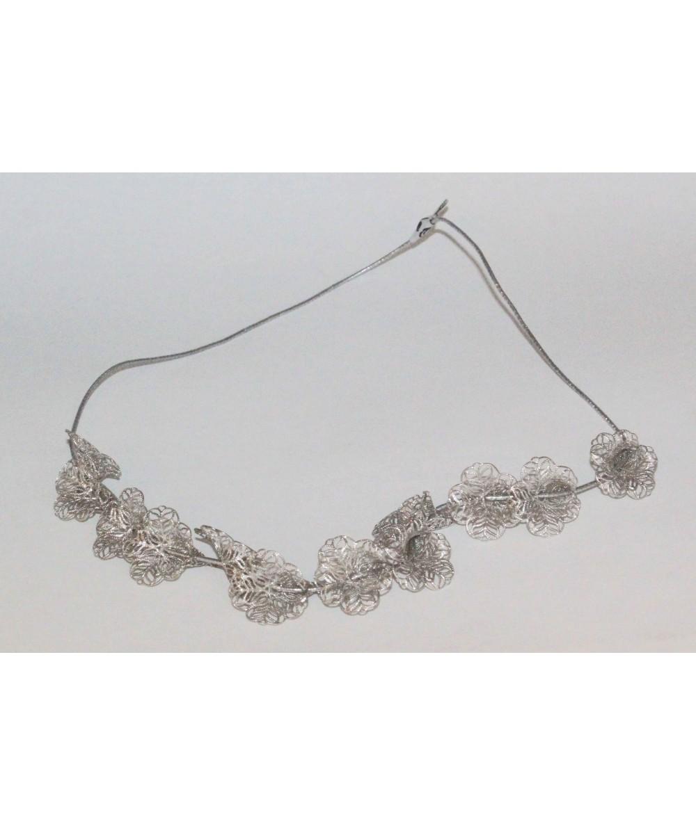 EL20 Silver headband silver metal flowers