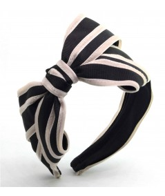 Black with Beige Bow Headband