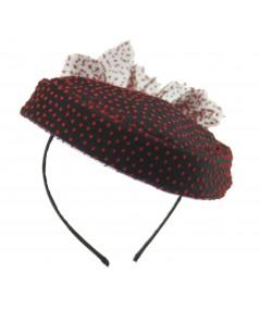 HT635 black and red velvet Polka Dot Tulle vintage styled hat fascinator
