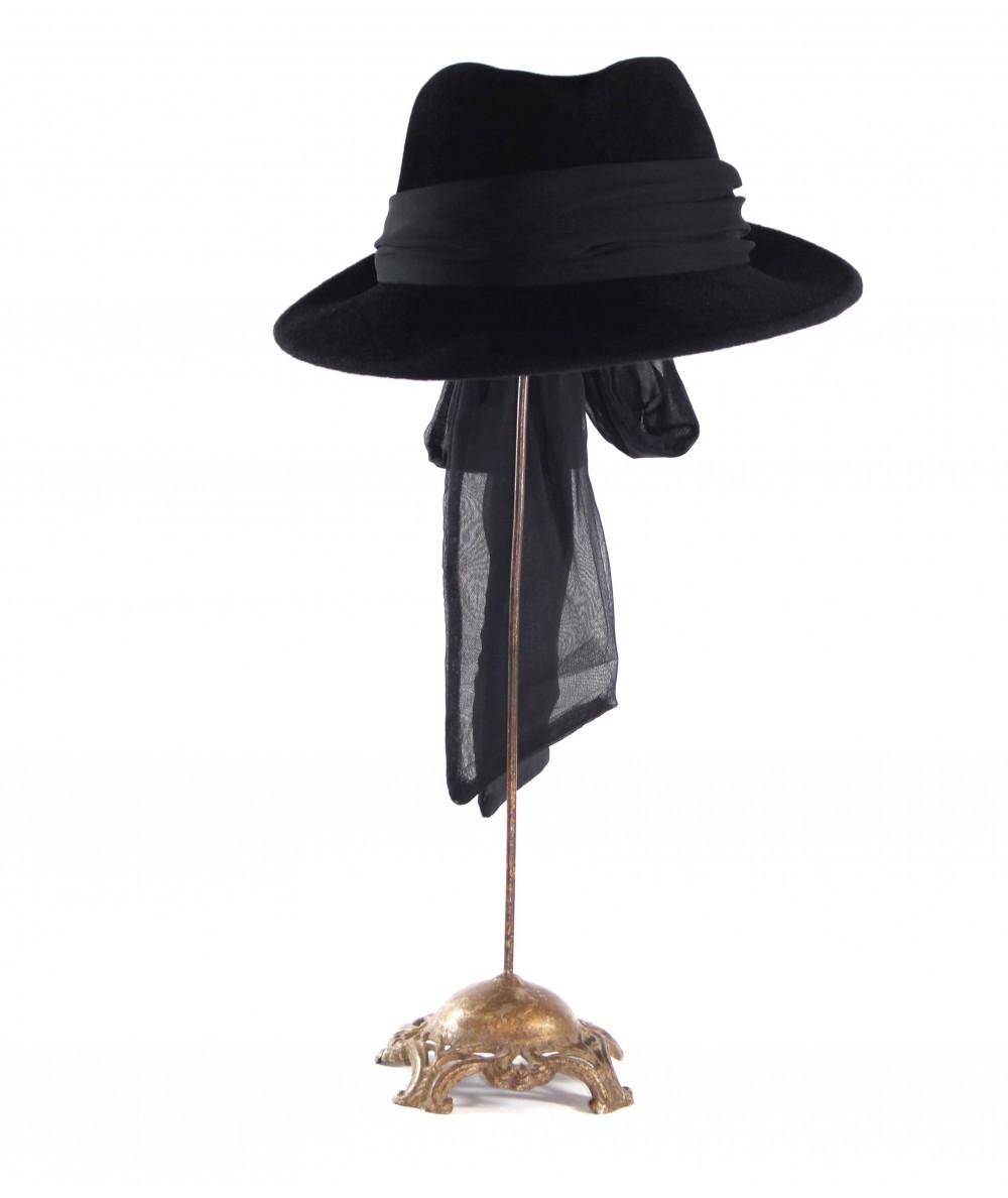 HT681 Black women's fedora with sash
