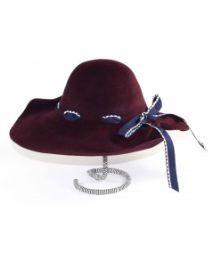HT682 Wine women's winter hat with ribbon