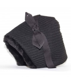 Tweed Cuddle Cap Hat with Grosgrain Bow