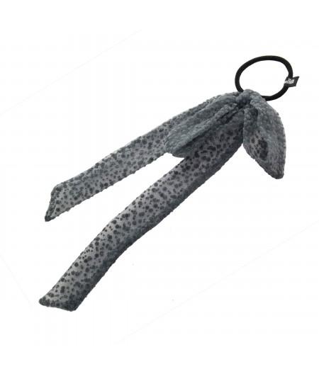 PY738 Grey Bow ponytail holder hair elastic