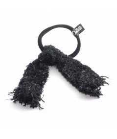 PY740 Black sparkley ponytail holder hair elastic