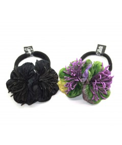 Black and Peacock flower vintage style hair elastic ponytail holder
