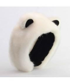 Ivory with Black Earmuffs Fake Fur Panda Bear