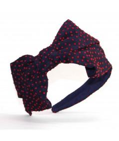TL32 Navy with Red Black headband polka dot