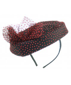 black and red vintage styled hat fascinator