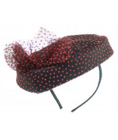 HT635 black and red vintage styled hat fascinator